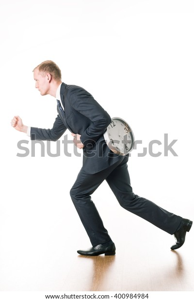 Young Businessman Hurry Running Work On Stock Photo Edit