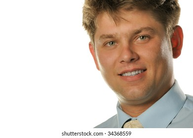 The young businessman isolated on a white background