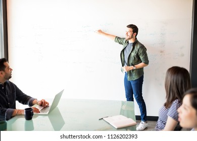 Young businessman leading a meeting with some of his coworkers in a meeting room