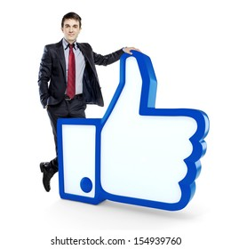 young  businessman and like symbol on white background
