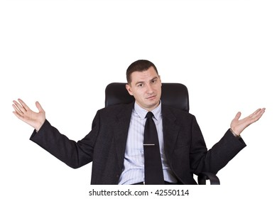 young businessman looking with his hands extended