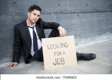 Young businessman looking for a job