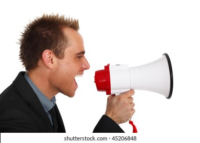 young businessman making an announcement with a megaphone