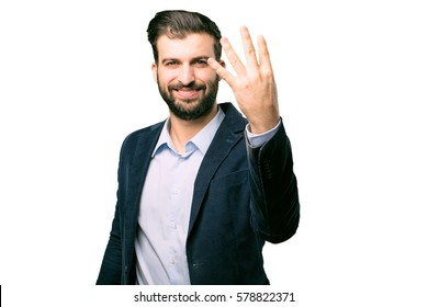 young businessman number sign