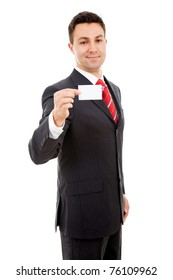 Young businessman offering business card on white background