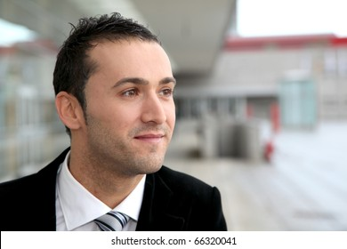 Young businessman on business travel