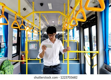 young businessman passenger use time in the bus it be lifestyle for transpotation in the city