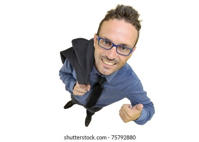 Young businessman posing against a white background