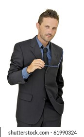 Young businessman posing with glasses isolated in white