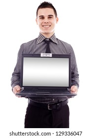 Young businessman presenting a laptop in closeup pose, isolated on white background, copyspace available