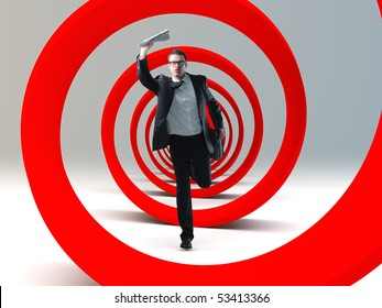young businessman run in a big red 3d spiral