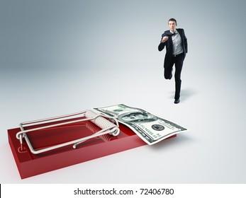 young businessman run toward money trap