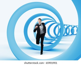 young businessman running in a 3d spiral