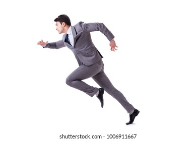 Young businessman running forward isolated on white