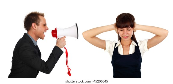 young businessman shooting at  a businesswoman  with a megaphone