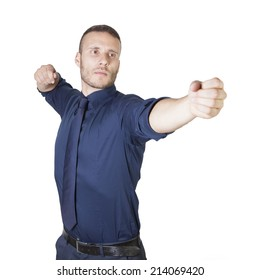 a young businessman shooting isolated on a white background
