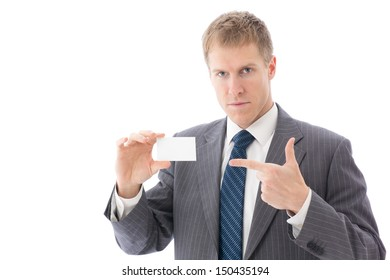 young businessman showing blank business card on white background