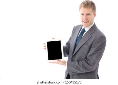 young businessman showing tablet computer on white background
