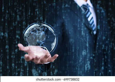 Young businessman shows a digital earth on his hand with an abstract data background. Business, Technology, Internet and network concept.