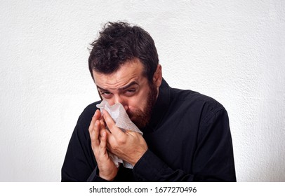 Young businessman Sick coughs on handkerchief Tissue