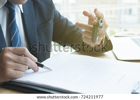 young businessman sign sales contract car stock photo edit now