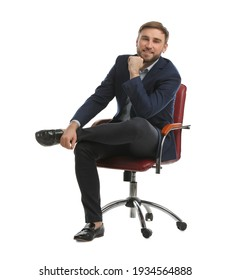Young businessman sitting in comfortable office chair on white background