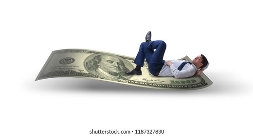 Young businessman sleeping on dollar isolated on white