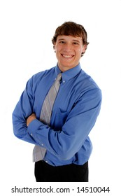 Young Businessman Smiling on Isolated on White Background