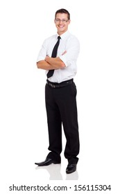 young businessman standing with arms crossed on white background