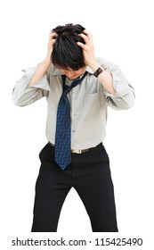 Young businessman standing head down as if sad or depressed, Isolated over white with clipping path
