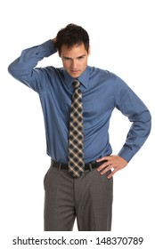 Young Businessman Standing Thoughtful Gesture on Isolate White Background