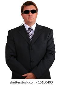 Young businessman suggesting a secret service agent