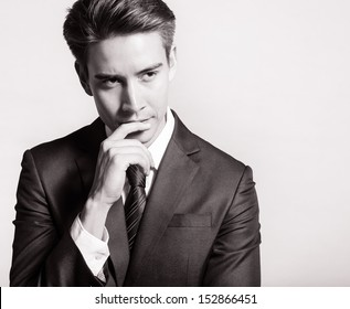 Young businessman thinking of idea
