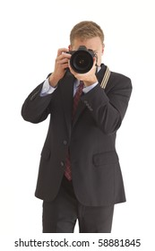 Young businessman using camera