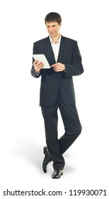 Young businessman using a Tablet computer over white background