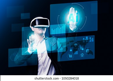 Young businessman using virtual reality glasses. Digital screen with financial and technology media