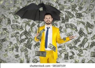 young businessman is very rich, money rain