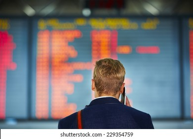 Young businessman is waiting at the airport