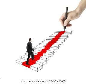 young businessman walking on drawing ladder with red carpet