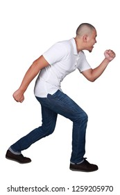 Young Businessman wearing white shirt and blue jeans running forward. Isolated on white. Full body portrait
