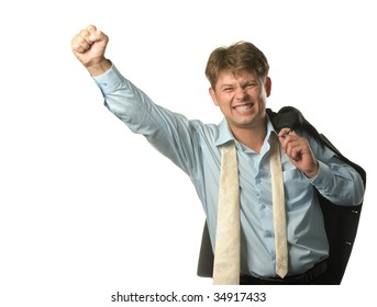 The young businessman - the winner. Expression of pleasure, strong emotion. It is isolated on a white background