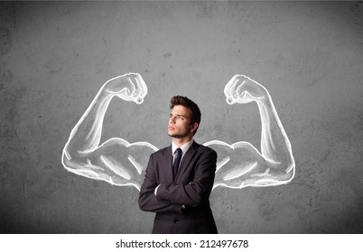 Young businessman wondering with sketched strong and muscled arms