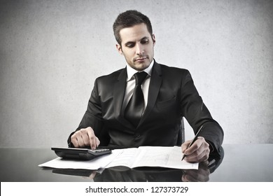 young businessman working at his desk