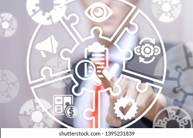 Young businessman working on a virtual screen of the future and touches the icon: check list with magnifying glass. Revision business finance concept. Revise.