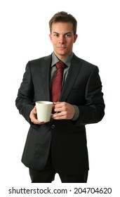 Young businessmen holding a tea cup isolated on white