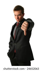 Young Businessmen making his thumb down isolated on white. Hand in focus