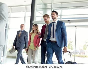 Young businessmen travel to work