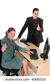 Young businesspeople, man and woman having  in the office.  studio shot.