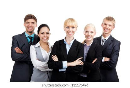 young businesspeople standing together smile, Business people group team, Isolated over white background
