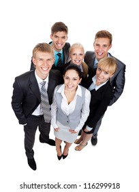 young businesspeople standing together smile, Business people group team, top angle view full length portrait Isolated over white background